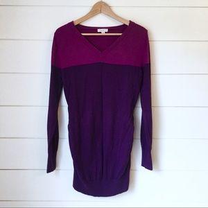 LIZ LANGE Colorblock Purple Sweater